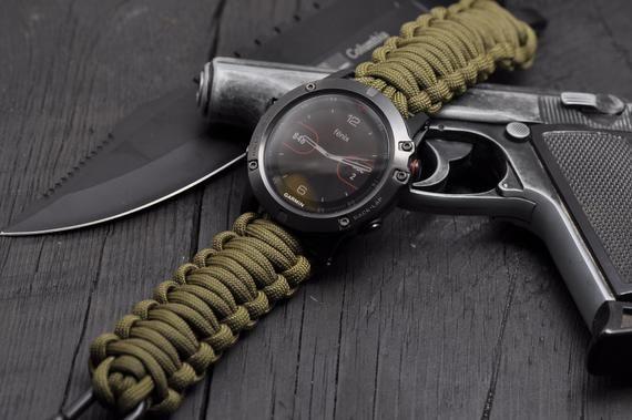 Photo of Garmin Fenix 1,2,3,5/5S/5X paracord watch band, Tactix  Garm…