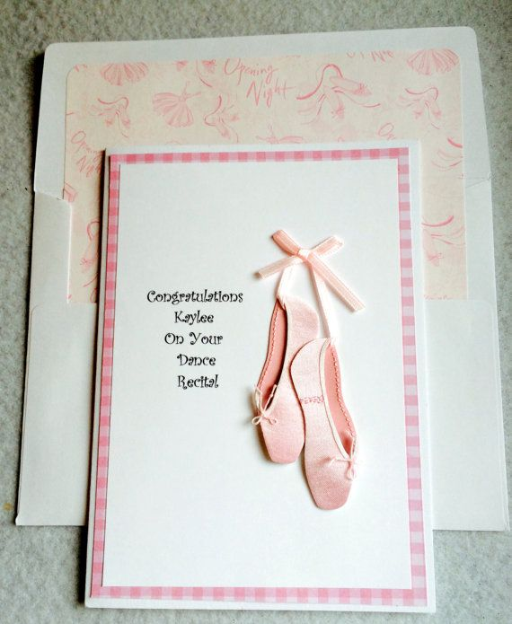 Dance Recital Or Birthday Card With 3-D Ballet Slippers-May Be Personalized on Etsy, $4.25