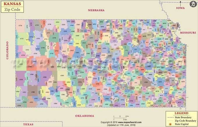 Kansas Zip Code Map Kansas Postal Code With Images Zip Code