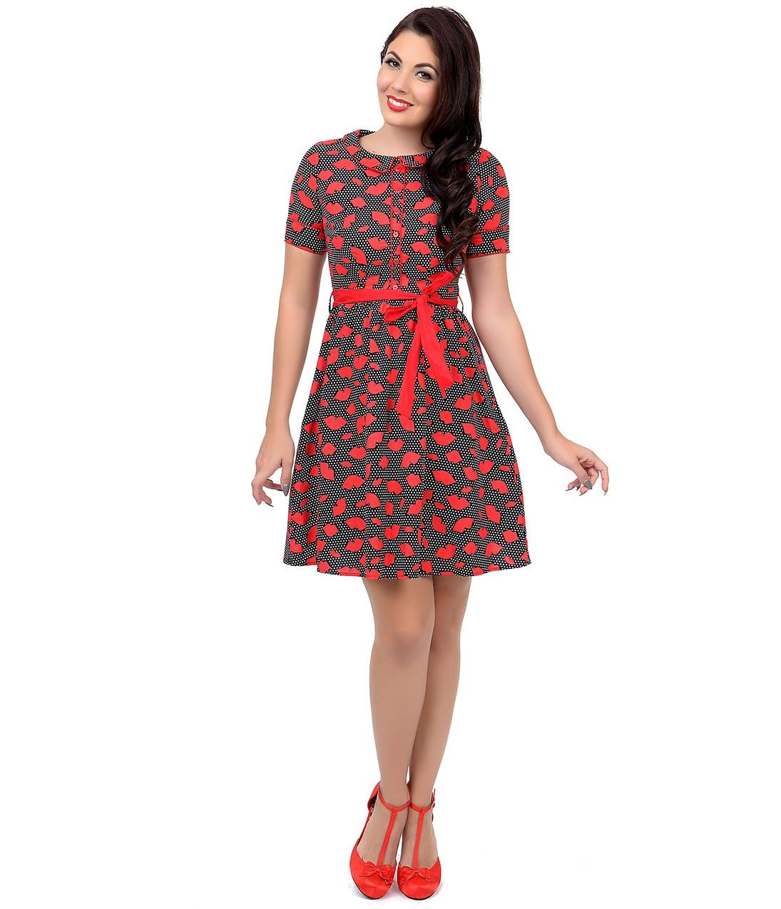 Black, White & Red Polka Dot Lips Fit N Flare Dress | Dress Fancy ...