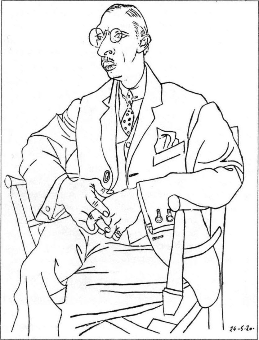 pablo picasso portrait of igor stravinsky 1920