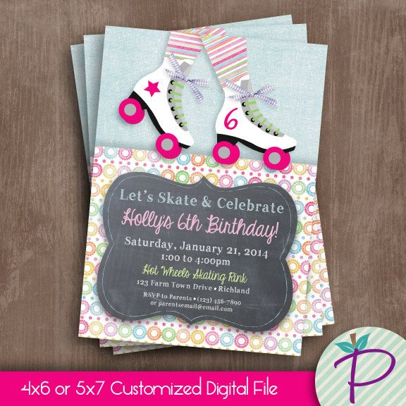 Roller Skate Invitation Roller Skate Birthday by punkinprints