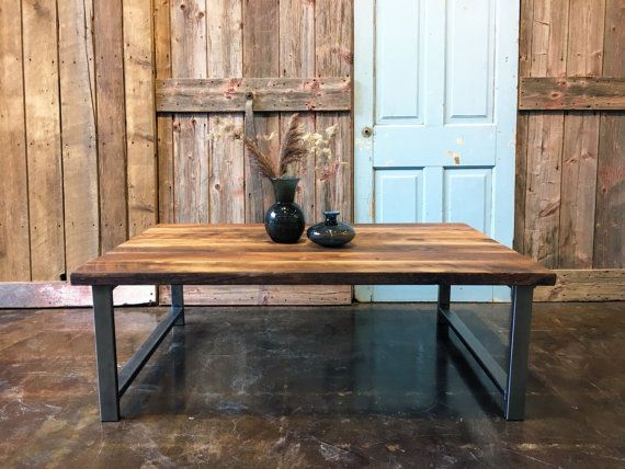 Reclaimed Oak Barn Wood Coffee Table With H Shaped Steel Legs Is Made From  100