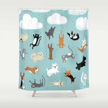 Raining Cats Dogs Shower Curtain