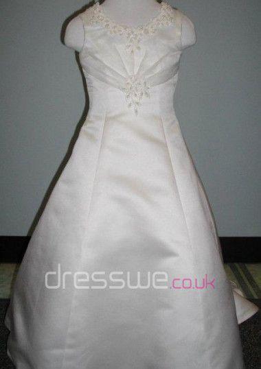 Vintage Scoop Neckline Organza And Satin Embroidery Princess Long Flower Girl Dress