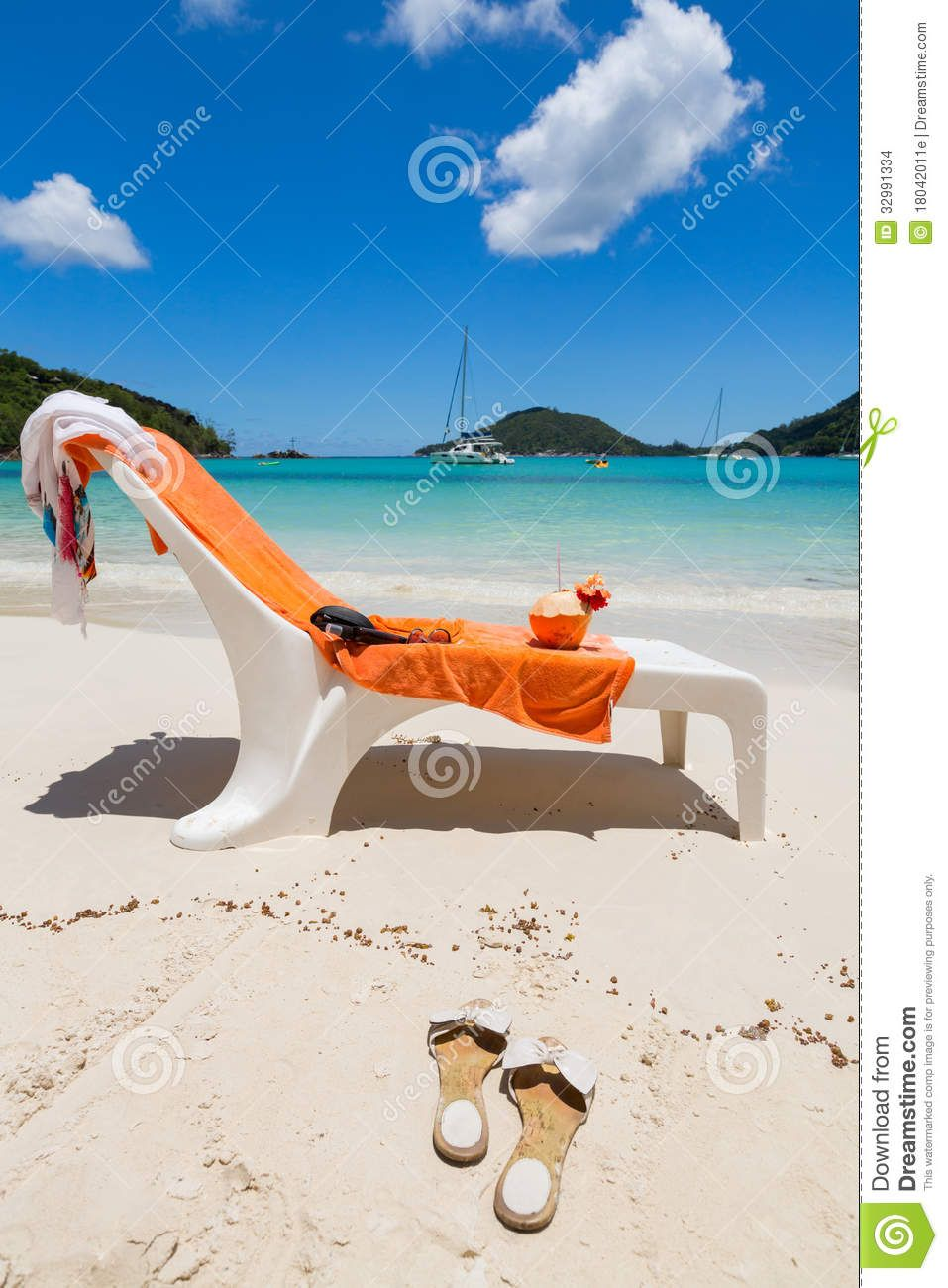 Beach Chair With Orange Towel And Coconut Drink Orange Towels Coconut Drinks Beach Chairs