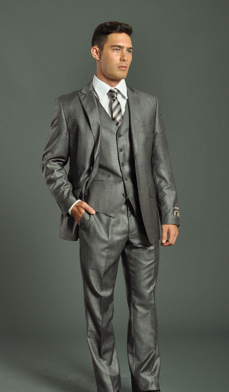 gosuit suits | Men\'s Two Button Vested Grey Slim Fit Suit | Three ...