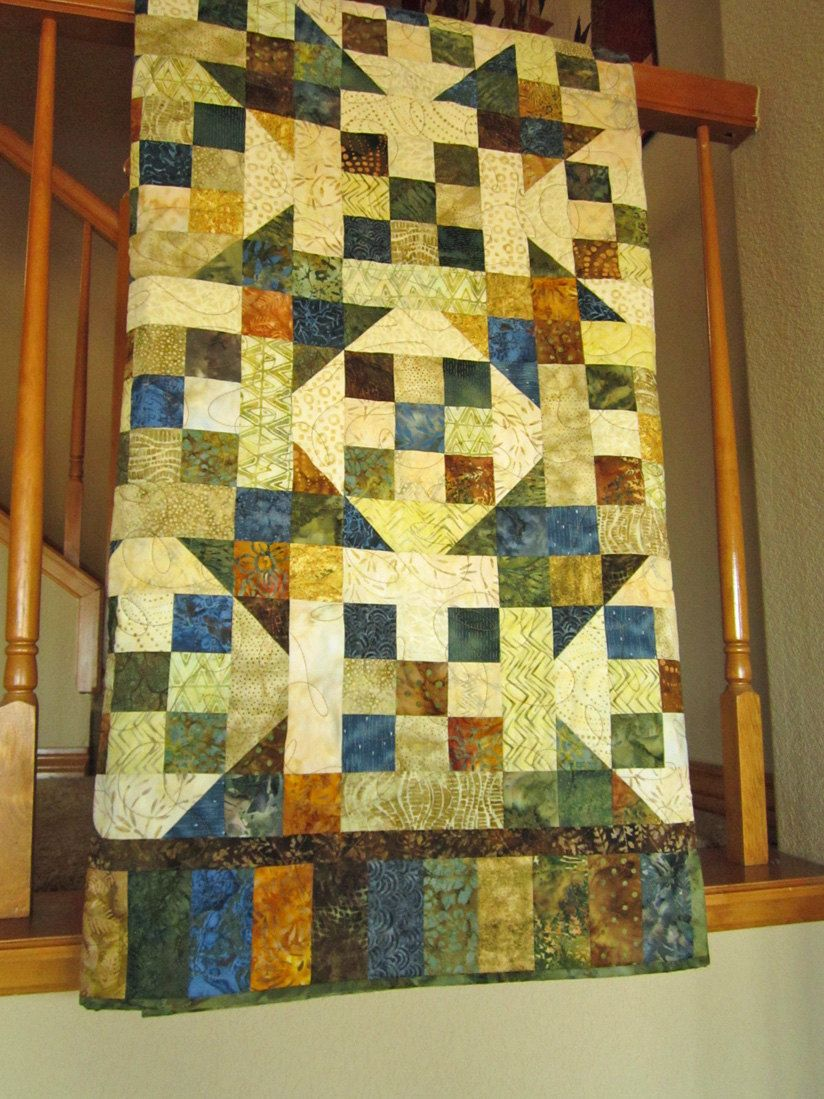 Patchwork Quilt Homemade Blue Green Brown and Gold Lap Quilt Home ... : quilting crafts - Adamdwight.com
