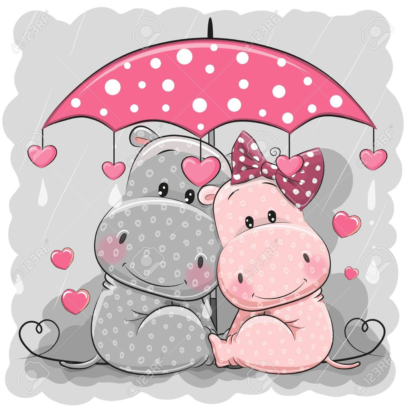 Two Cute Cartoon Hippos With Umbrella Under The Rain Illustration Sponsored Hippos Cartoon Cute I Cartoon Hippo Baby Elephant Cartoon Cute Drawings