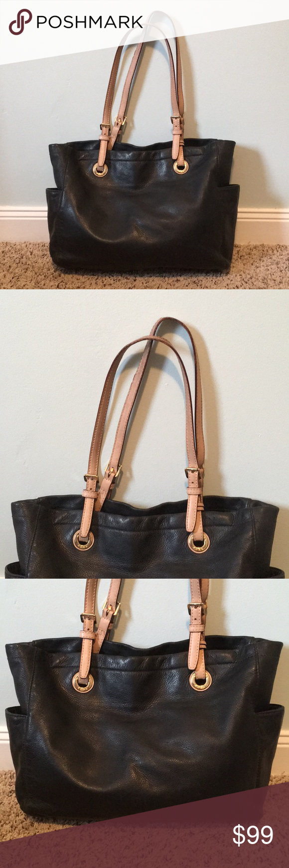 Leather MK tote Beautiful black leather MK tote with tan accent and gold  hardware in very 864b54b1ced1d