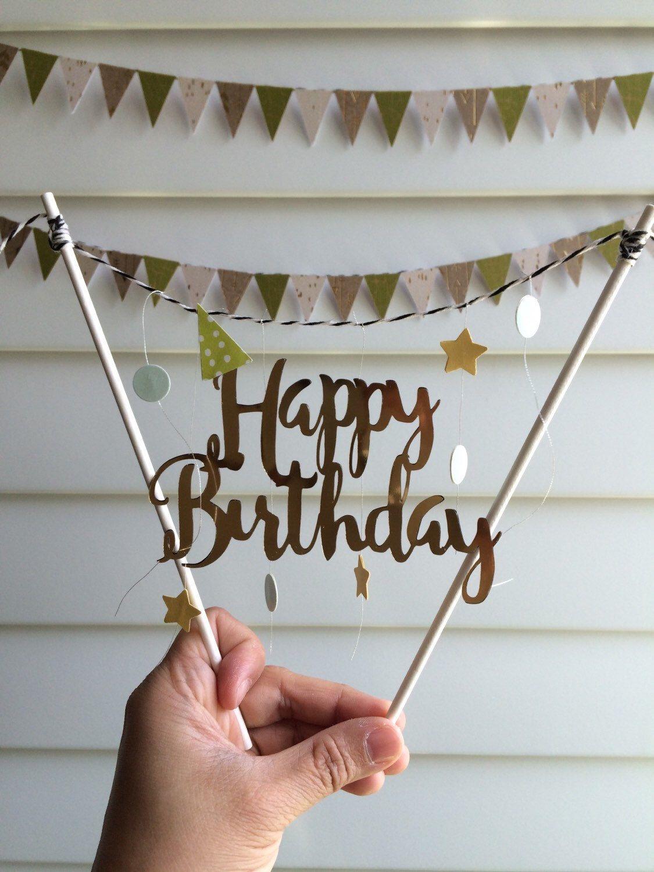 Gold Happy Birthday cake topper garland bunting decoration – 케이크토퍼
