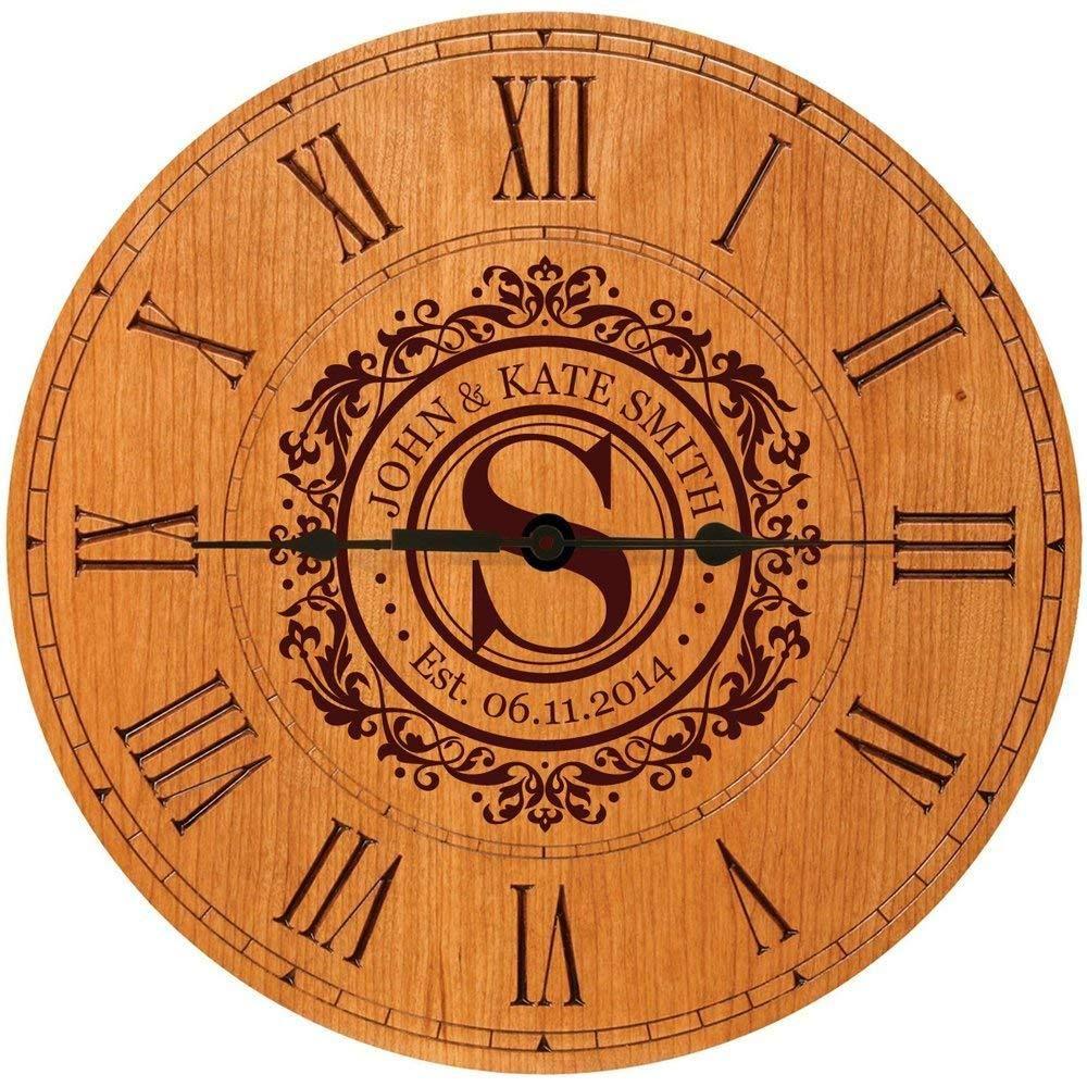Personalized Wedding Anniversary Clock Gift Family Name Anniversary Clock 1st Wedding Anniversary Gift Monogram Wall