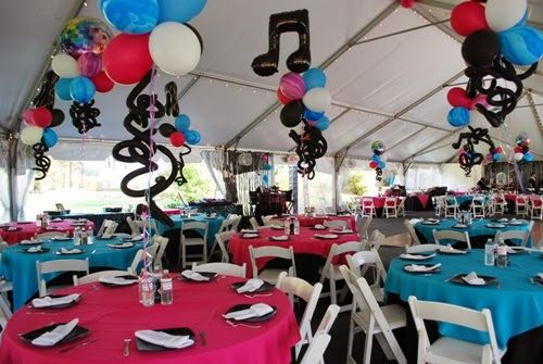 Rock and roll table centerpieces google search baby - Rock and roll theme party decorations ...