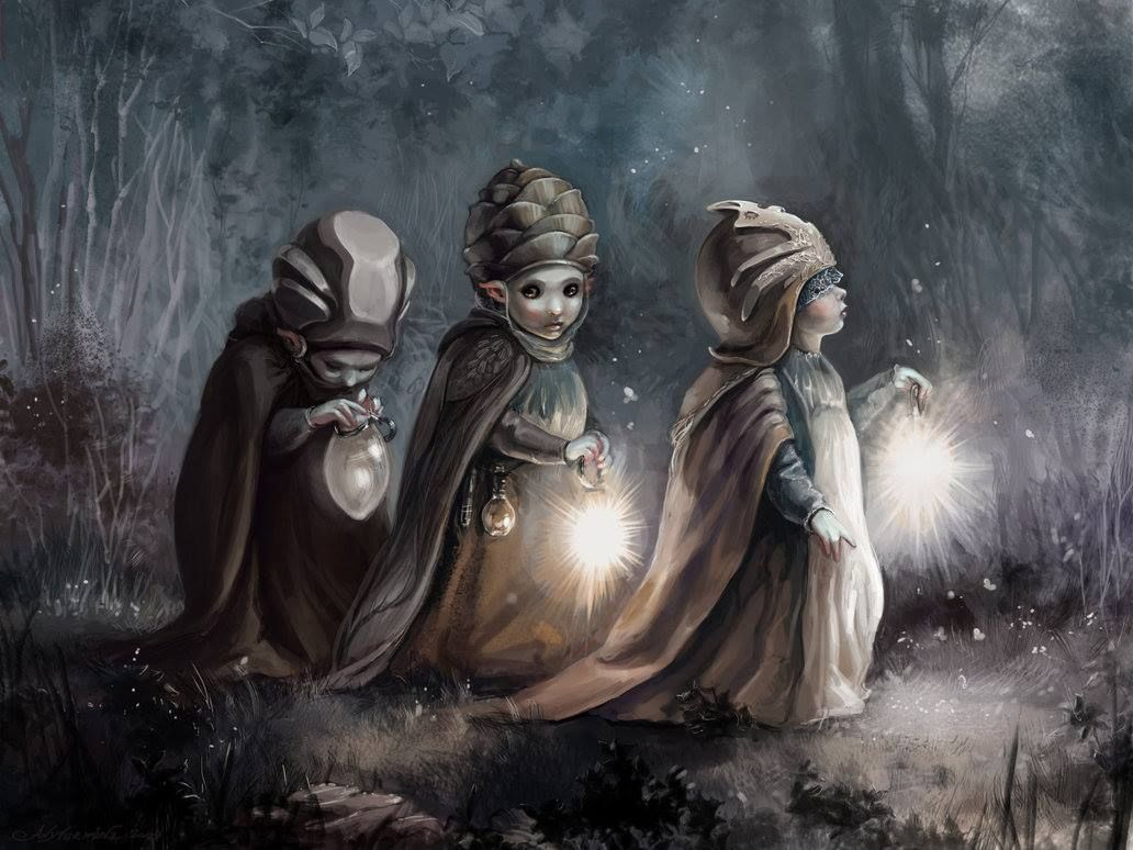 All through the night they travelled in three, and graced by the light of the fae...