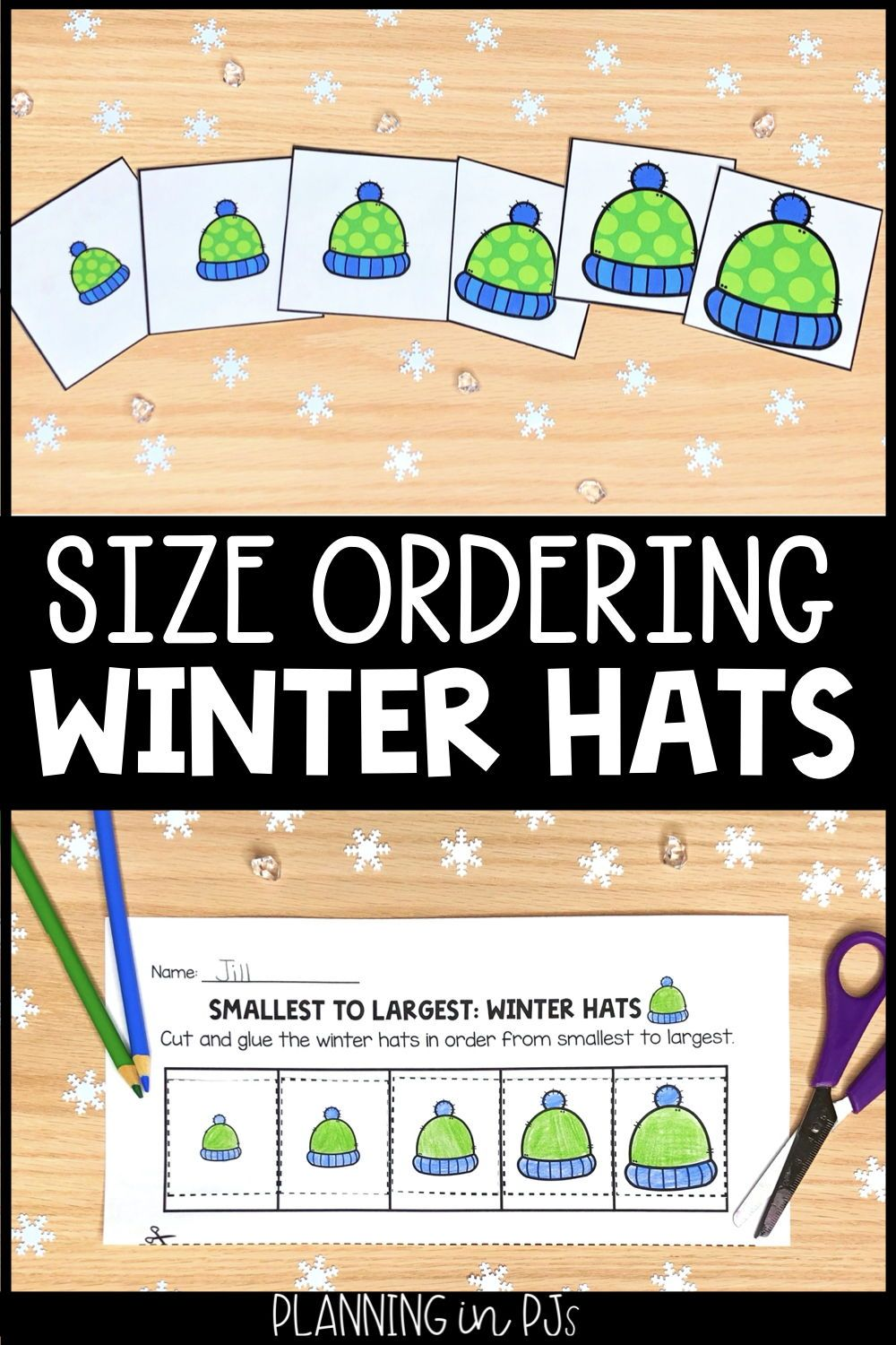 Winter Hats Size Ordering From Smallest To Largest Winter Theme In 2021 Winter Theme Winter Math Activities