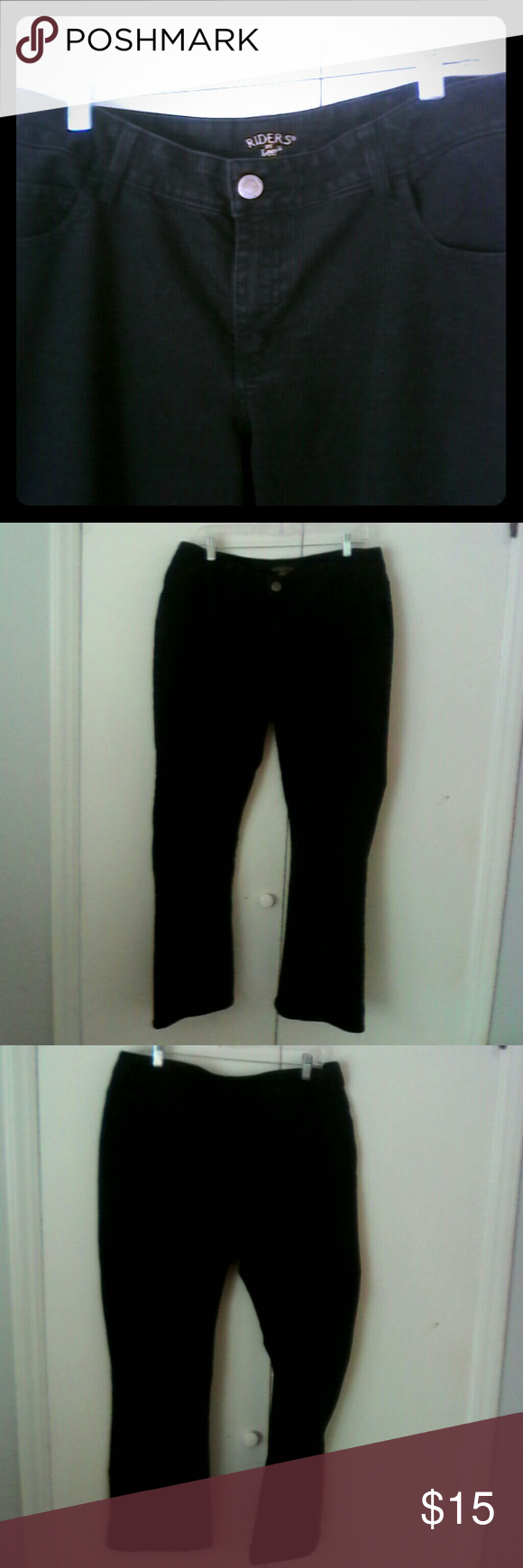 Lee Riders Black Stretch Jeans 16W Womans Plus This is a pair of jeans by Lee Riders in a size 16W medium Cotton polyester spandex stretch material 5 pocket style Straight leg Black in color In excellent used condition Lee Riders Jeans Straight Leg