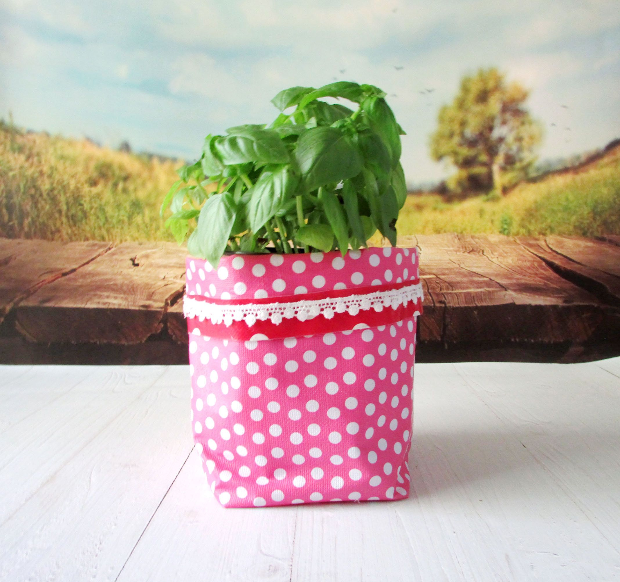 Flower Pot Planters Flowers Potted Basil Seasoning Small Pink