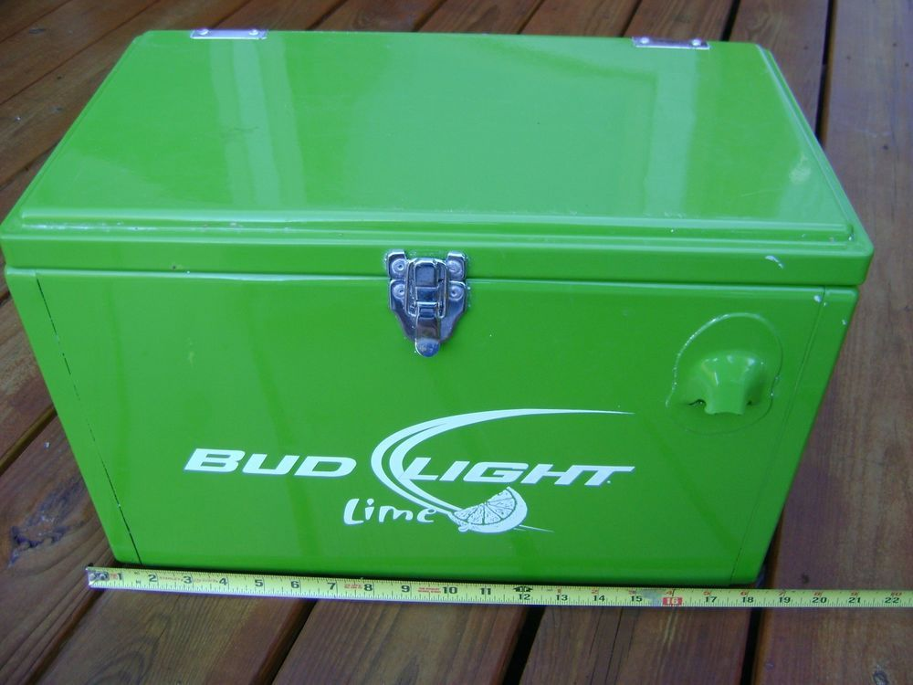 Used Budweiser Light Lime Beer Bar Green Metal Ice Chest Cooler