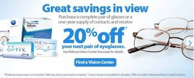 5dfe0c527156 Receive 20% Off Your Next Pair of Eyeglasses-Walmart Vision Center   eyeglasses  walmartvision  discounteyeglasses