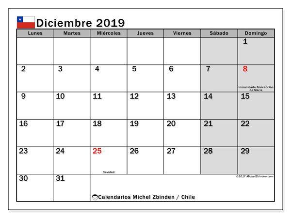 Calendario Diciembre 2019 Para Imprimir Argentina.Calendario Diciembre 2019 Chile Calendario Calendario