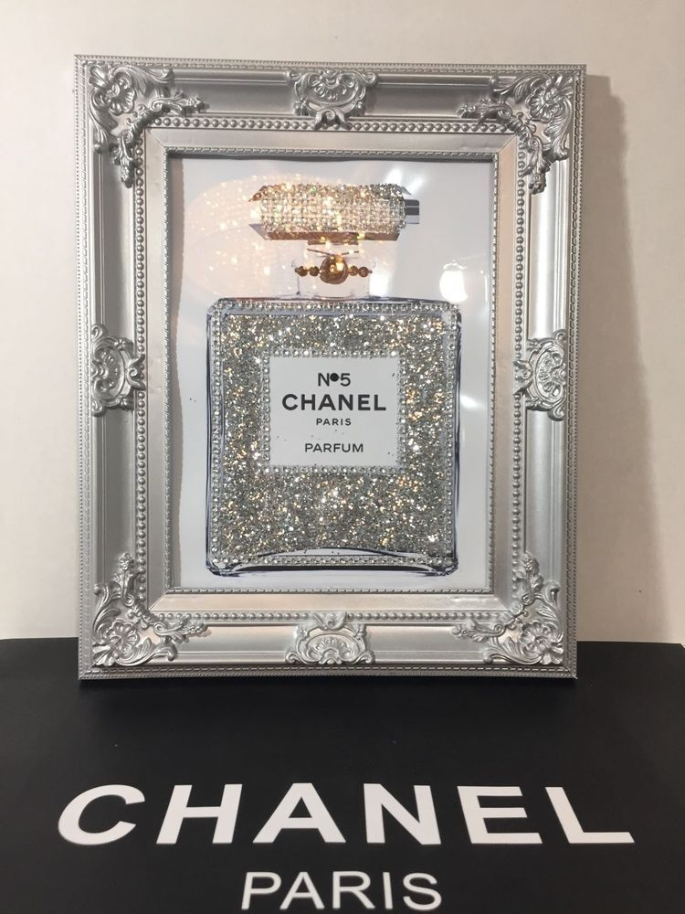 Framed Pop Art Chanel No 5 Perfume Bottle Bling Glitter Print Wall
