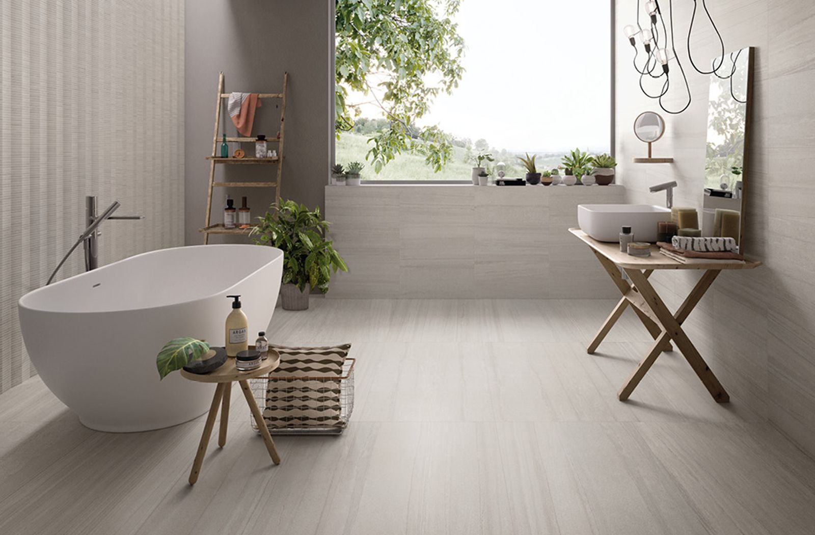 Modern Scandinavian bathroom sanctuary with tiles from Ceramiche Provenza's  evo-Q collection.