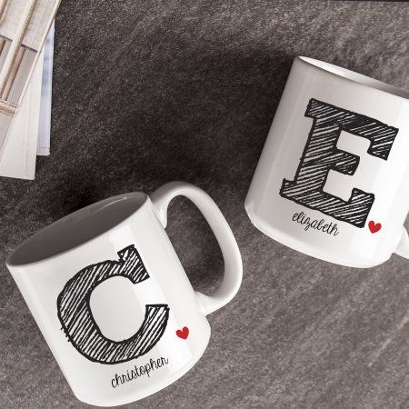 Personalized 20 oz. Large Ceramic Coffee Mugs (Set of 2) - Walmart.com #custommugs