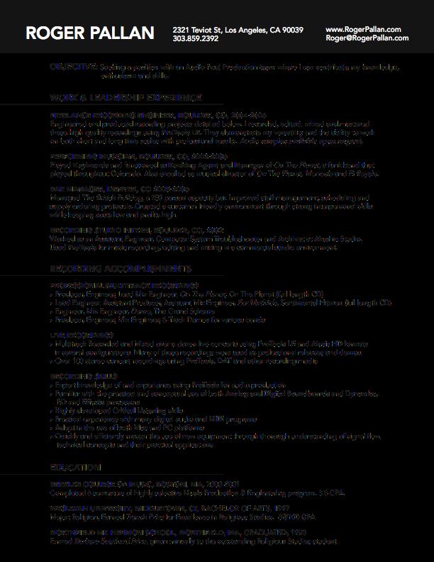 Bw Roger Pallan Resume Full Png 612 792 Resume Resume Templates Resume Cv