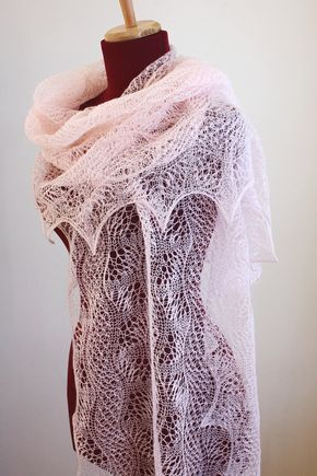 Knitted Lace Shawl, Dunes and Waves Pattern, PDF | Patrones de ...
