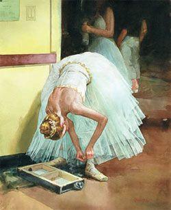 1970~90년 대 광고계에서 일했던 일러스트레이터 김건배 씨는 미국으로 건너가 수채화가로 활동했습니다. 특히 발레리나를 즐겨 그렸다는데요. 정교한 데셍으로 잡아낸 뒤 음영 짙은 수채 물감으로 그린 발레리나의 모습이 아름답네요.