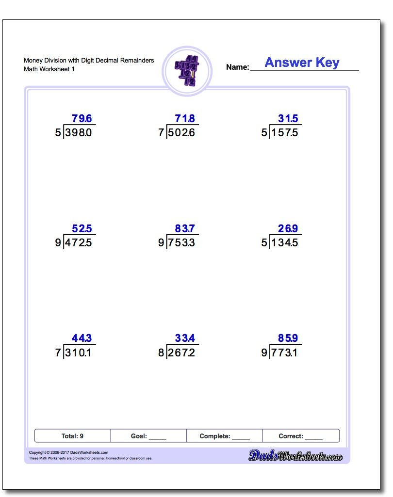 Practice worksheets for division with fractional results expressed ...