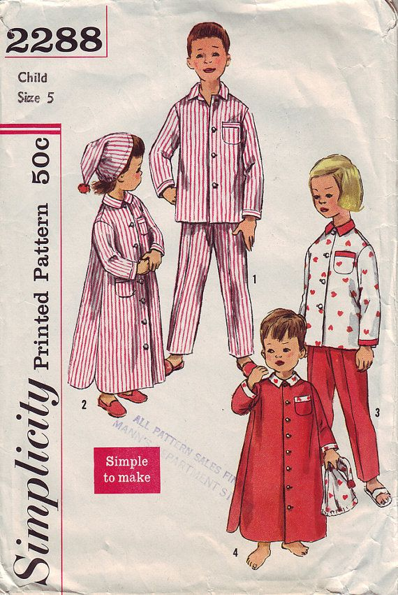 0a8482a349b 1950s Child's TwoPiece Pajama Nightshirt and by TheVintageCat1920 Childrens  Sewing Patterns, Clothing Patterns, Hat