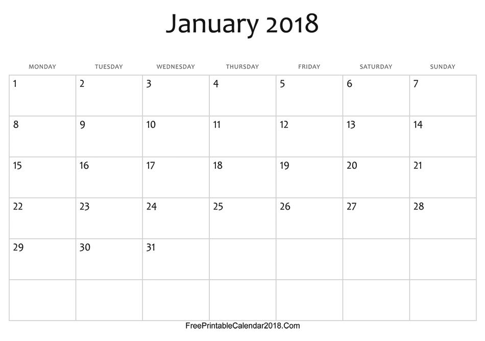 January Calendar Template   January Calendar Template