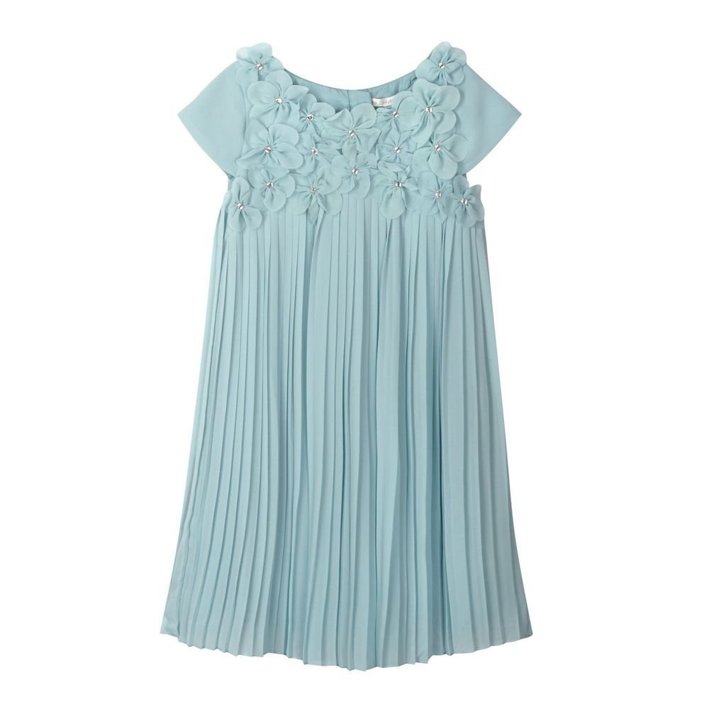 Rjr.John Rocha Kids Designer Girl\'s Aqua 3D Flower Pleated Dress ...