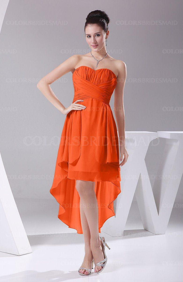 Tangerine Hawaiian A Line Sleeveless Chiffon Tea Length Ruching Evening Dresses Style D97991