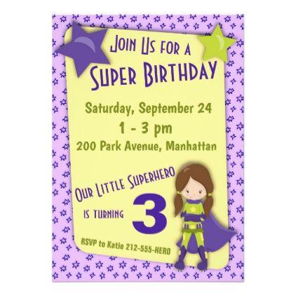 Superhero birthday invitation girl purple birthday cards superhero birthday invitation girl purple birthday cards invitations party diy personalize customize celebration filmwisefo