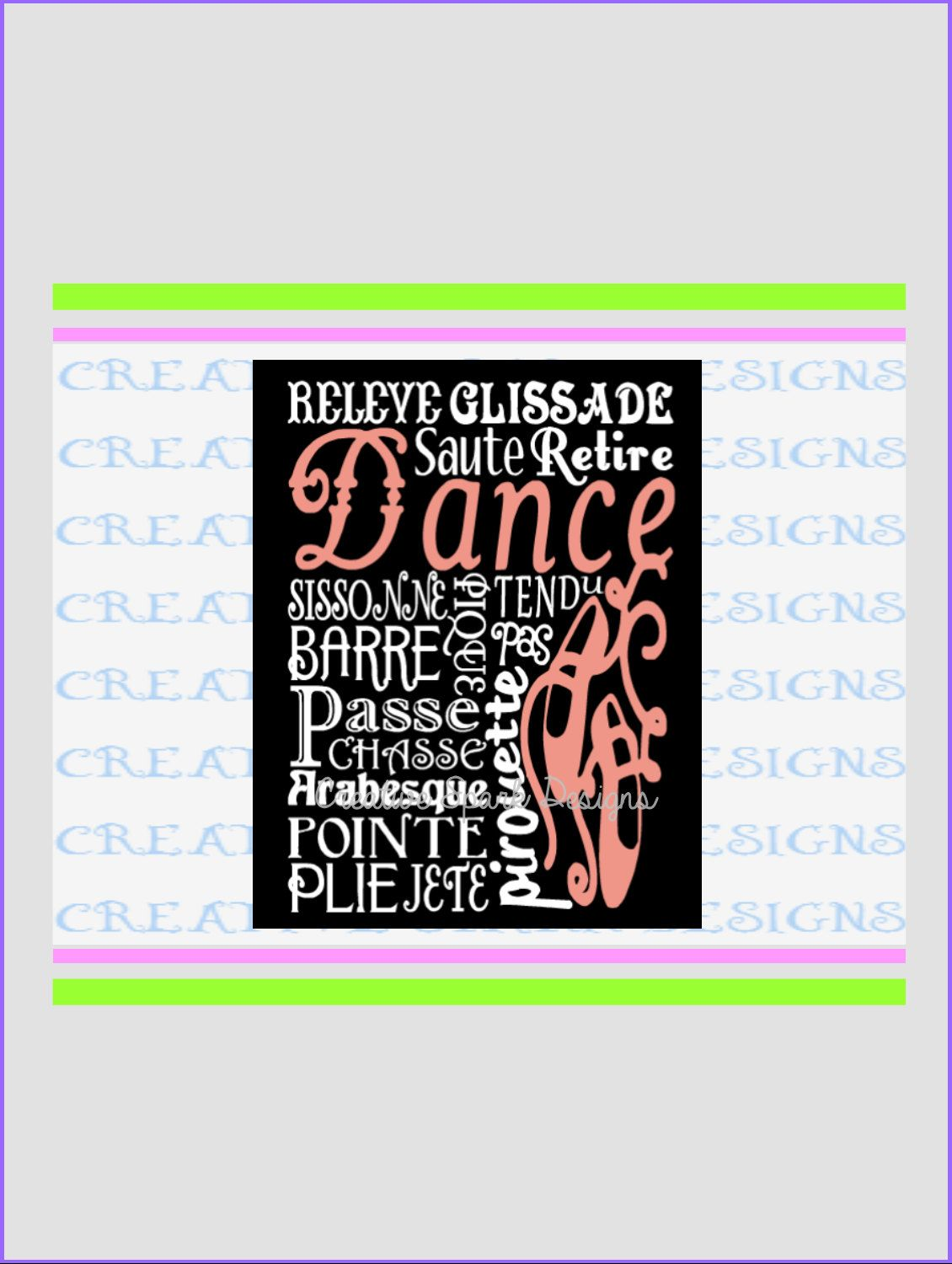 Dance Ballet Themed Canvas Art DIY Project SVG Digital Download for Die Cutting Machines by CreativeSparkDesigns on Etsy