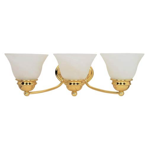 Photo of Nuvo Lighting Empire bathroom fitting made of polished brass with three lights 60/350 | Bellacor