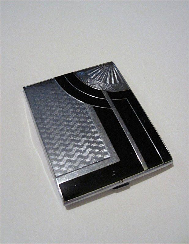 Cigarette Case deco black & silver sleek (please follow minkshmink ...