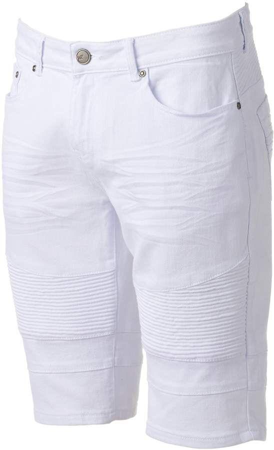 171a149141 Men's XRAY Slim-Fit Moto Stretch Denim Shorts in 2019 | Men's White ...