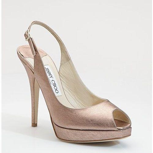 Jimmy Choo Clue Metallic Leather Slingback Peep Toe Pumps Pink