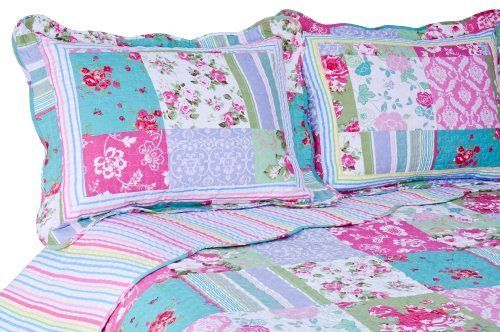 Pink Turquoise Floral Shabby Chic Quilt Set Queen Bed