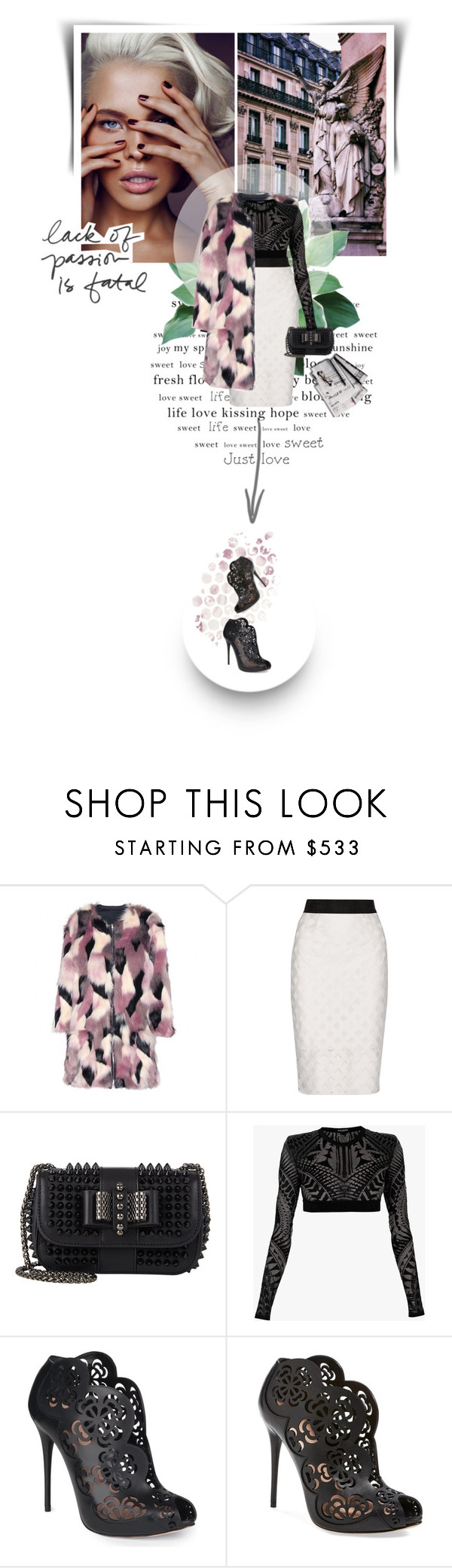 """""""Fashion is about eventually becoming naked"""" by valenthin ❤ liked on Polyvore featuring Nina Ricci, Milly, Christian Louboutin, Balmain, Alexander McQueen, 7 For All Mankind and Prada"""