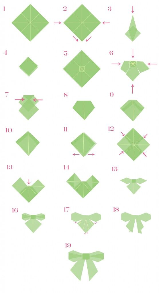 Step by step instructions how to make origami a ribbon. Royalty.