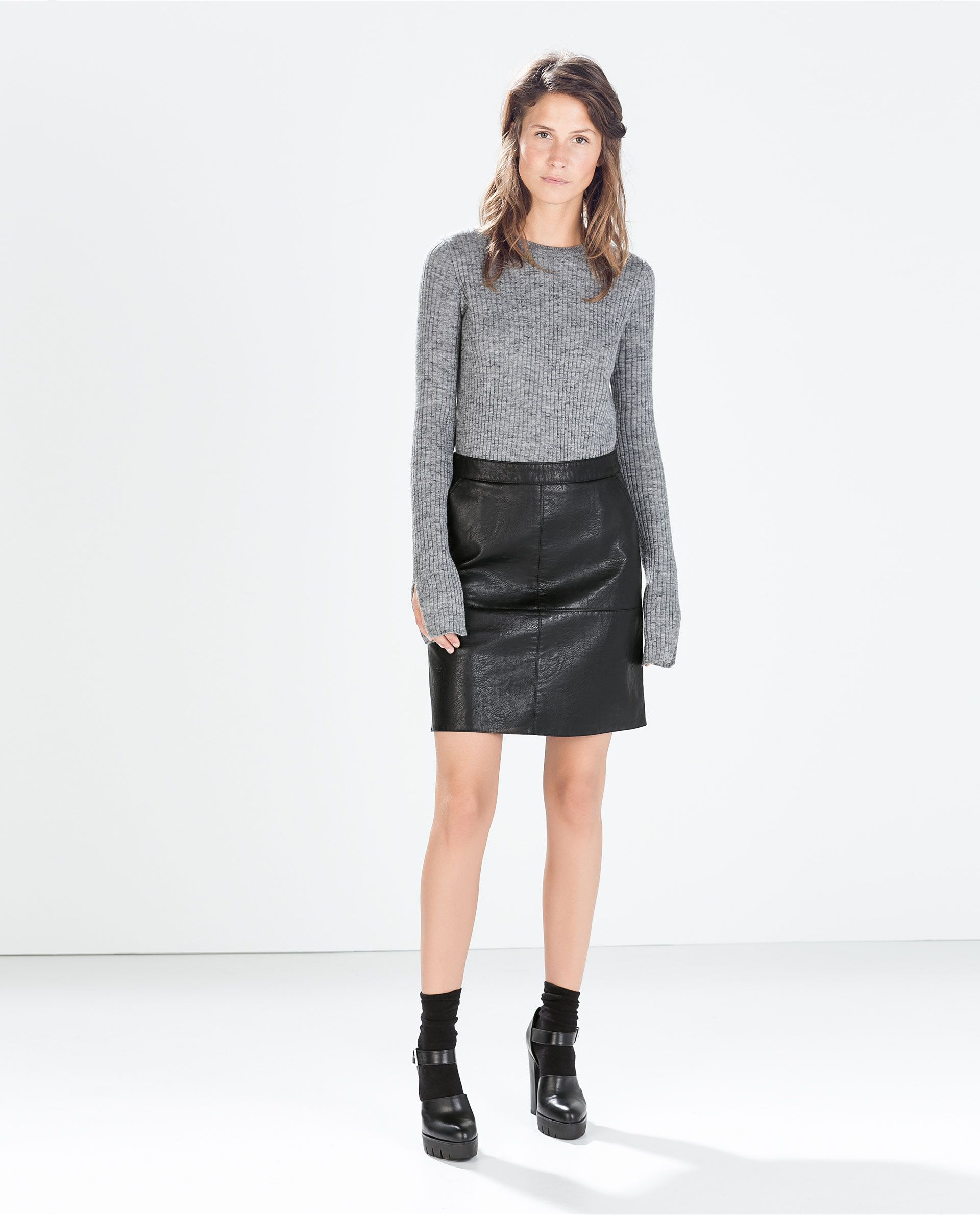 e7061deee6 Black Leather A Line Skirts