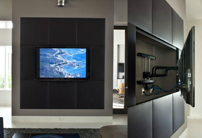 tv wandhalterung fur medienwand ideen zum selberbauen, medienwand aus rigips mit lederverkleidung und schwenkbarer tv, Ideen entwickeln