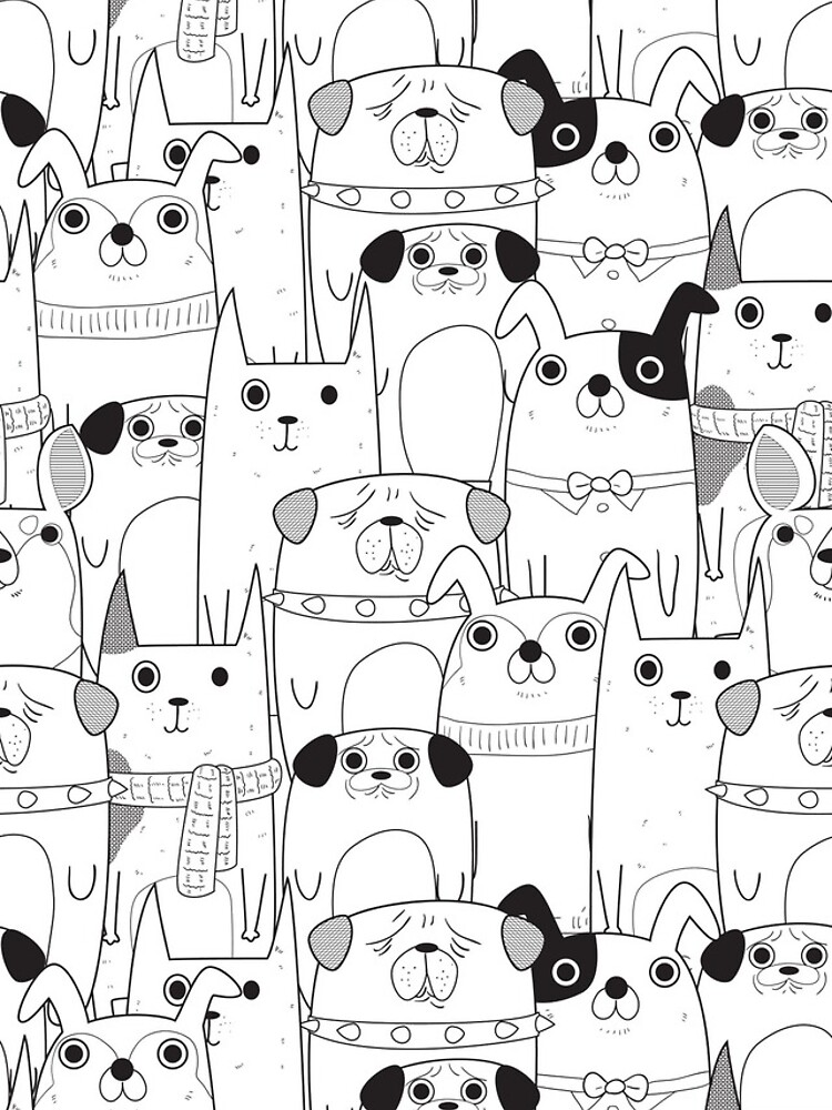 Dog Cartoons Pattern In Black And White Iphone Case By Kanae19 In 2020 Dog Line Drawing Cute Dog Cartoon Cartoon Dog