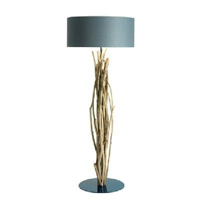 LAMPPOST 'AQSAARNIIT'     Material: Driftwood, metal base, cotton shade    Ø70 H190 cm - ref. L113NE 2x40W max.  Blue Nature    Living Room Floor Lamps