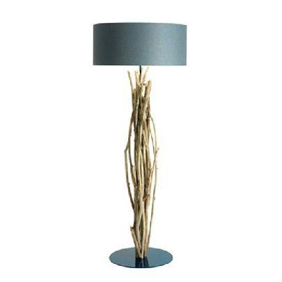 LAMPPOST 'AQSAARNIIT'     Material: Driftwood, metal base, cotton shade    Ø70 H190 cm - ref. L113NE 2x40W max.  Blue Nature    Living Room Floor Lamps