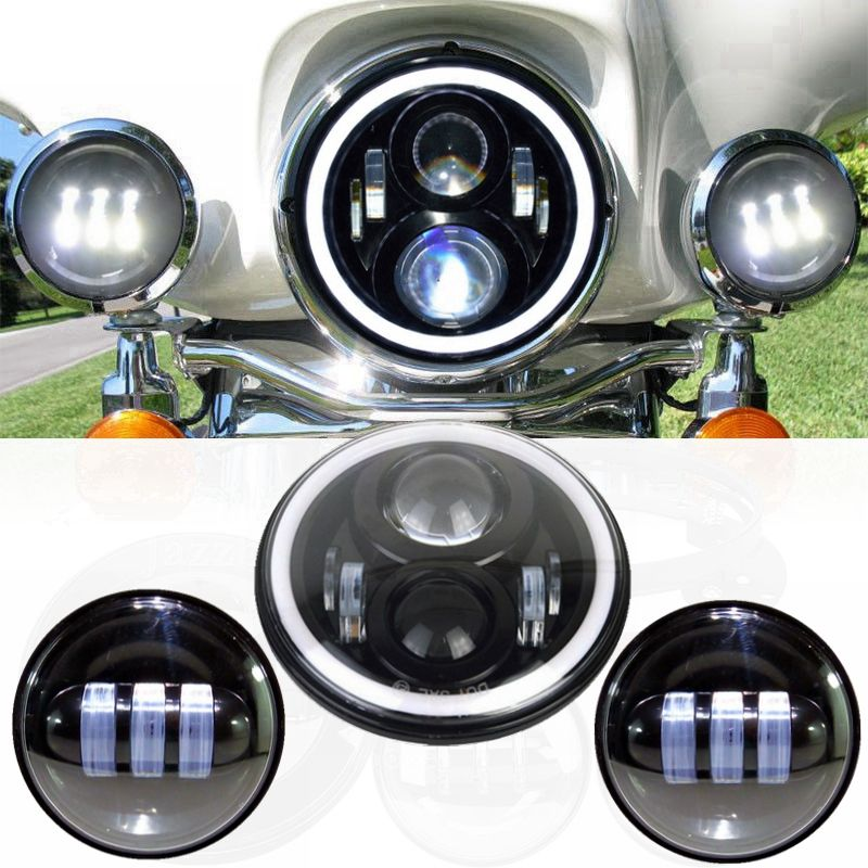 """7"""" Round Angel Eye Led HALO MOTORCYCLE Projector Daymaker"""